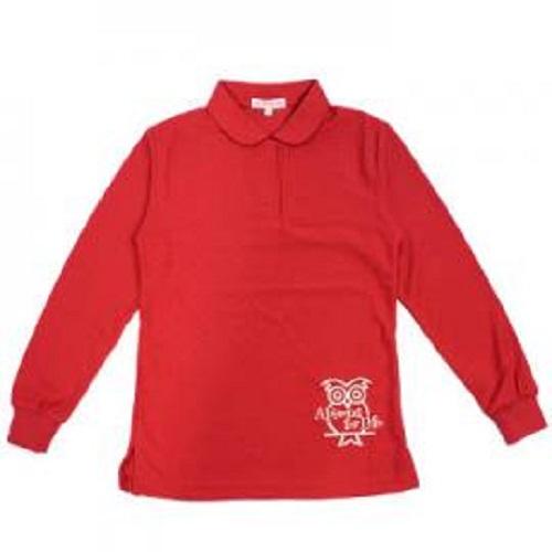 空英長袖Polo女衫(紅)S