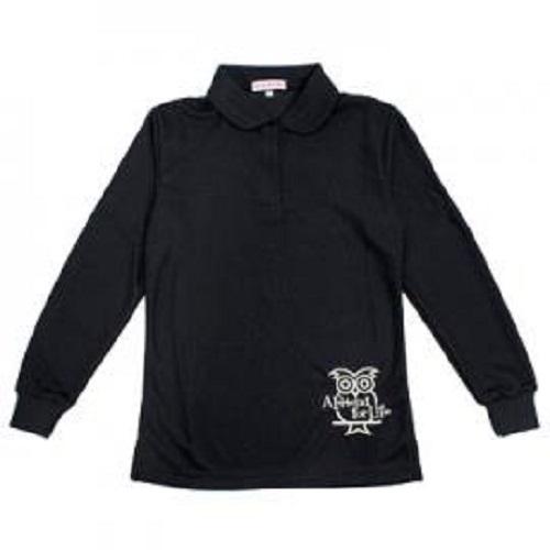 空英長袖Polo女衫(黑)S