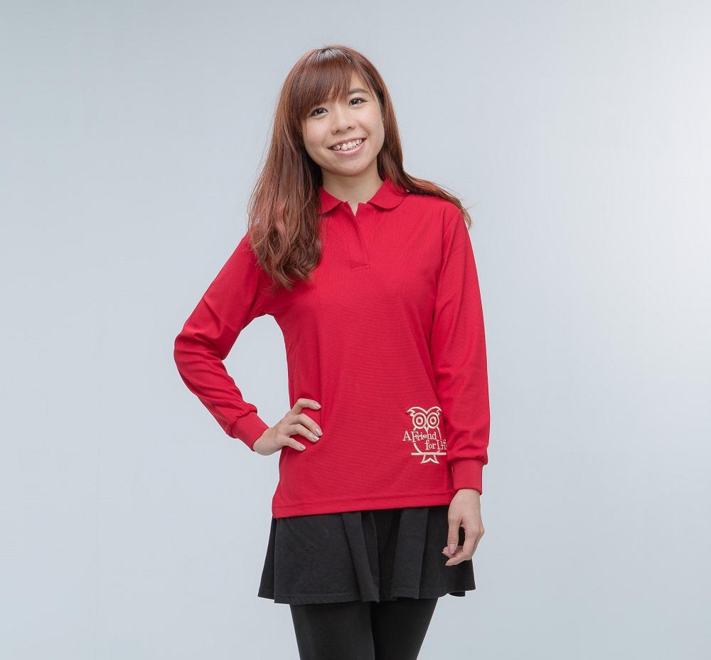 空英長袖排汗polo女衫 紅色